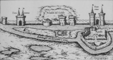 Western_side_of_La_Rochelle_with_remaining_towers_of_Vauclair_castle_by_Antonius_Lafreri_Rome_circa_1573