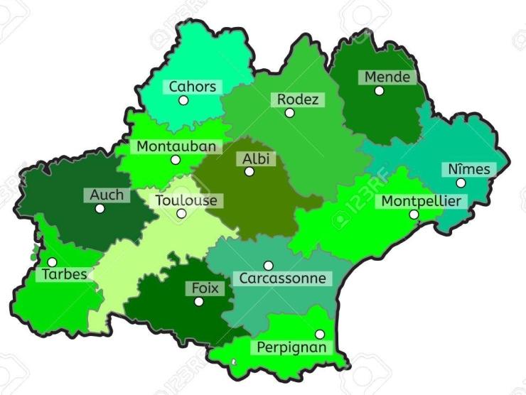 Occitania french region map