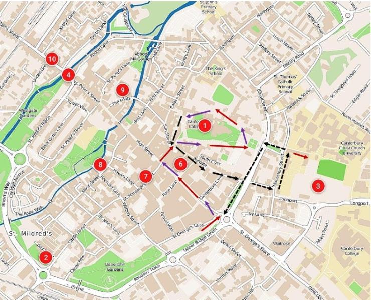 Canterbury stroll map