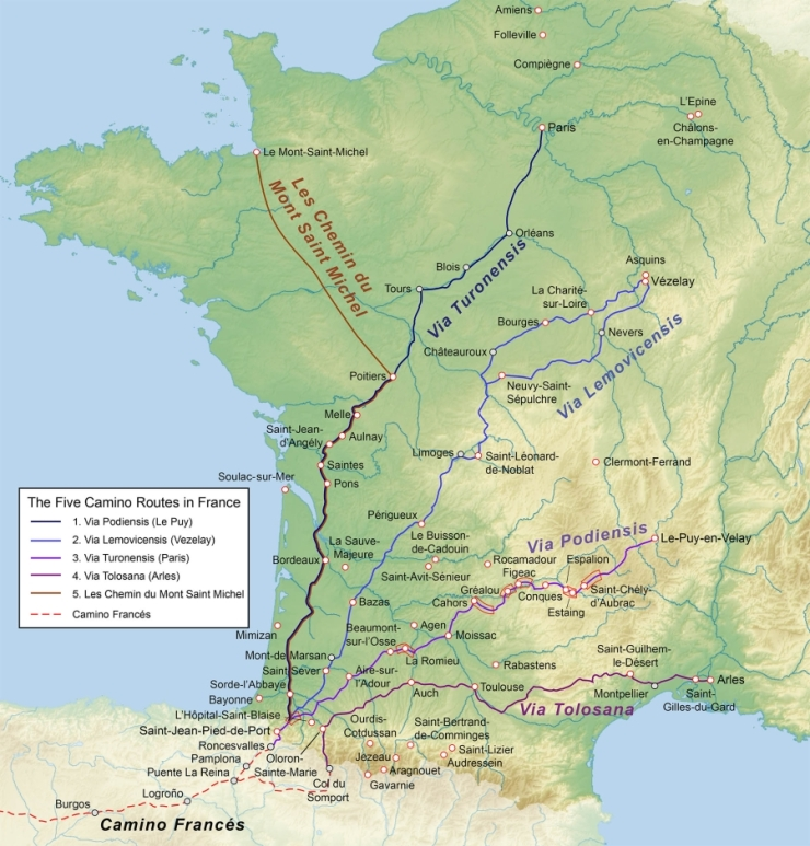 Map of 5 Camino Routes in France